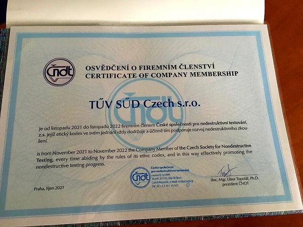 certifikát TUV